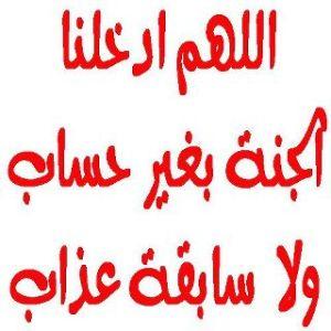 9= اللهم أدخلنا الجنبة بغير حساب ولا سابقة عذاب